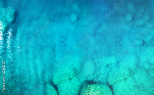 Fototapeta Aerial view at the sea. Turquoise water from air as a background from air. Natural seascape at the summer time. Seascape from drone obraz