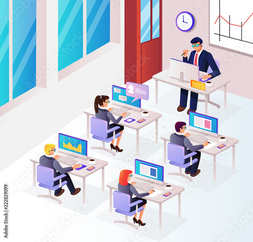 Fototapeta People characters businesspeople managers office workers sitting in room workplace workspace and working with boss. Office life teamwork communication isometry 3D view graphic design vector obraz na płótnie