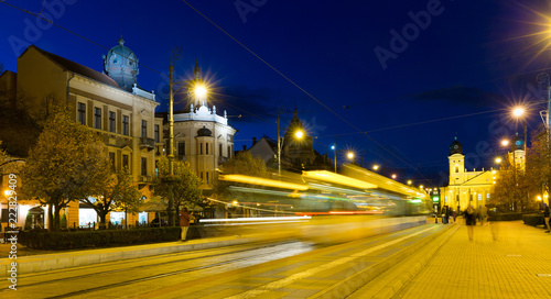 In de dag Europa Nightlife of Debrecen streets