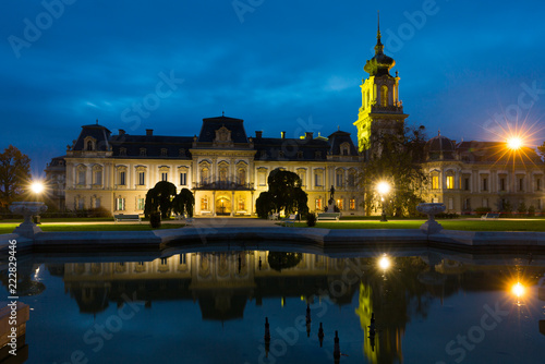 Keuken foto achterwand Europa Photo of night illuminations of Festetics Palace in hungarian Keszthely