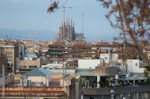 Keuken foto achterwand Europa Barcelona roofs against background of Sagrada Familia