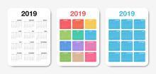 Pocket Calendar 2019 Template. Colorful Compact Calendar Design For Planner Or Scheduler
