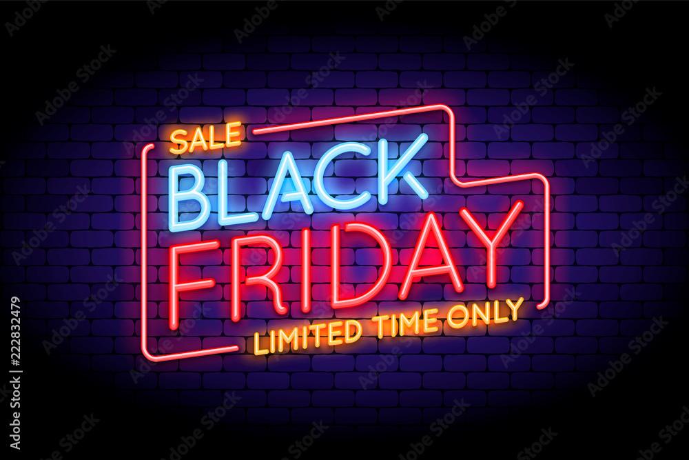 Fototapety, obrazy: Black Friday Sale illustration in neon style.