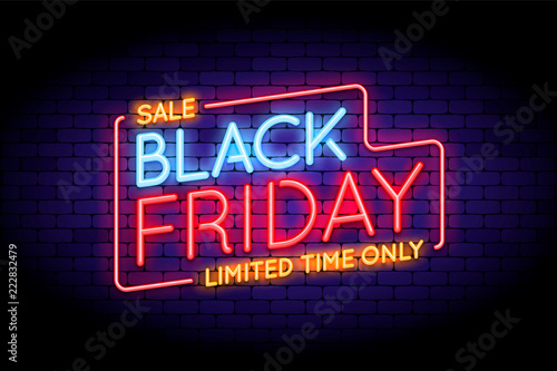 Fotografia  Black Friday Sale illustration in neon style.