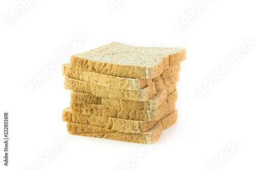 Fotografie, Obraz  sliced Whole wheat bread isolated on white background