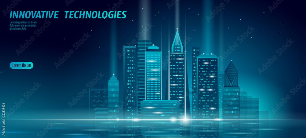Fototapeta Smart city 3D neon glowing cityscape. Intelligent building automation night futuristic business concept. Web online blue color future technology. Urban banner vector illustration