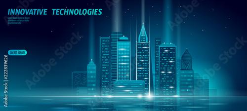 Cuadros en Lienzo Smart city 3D neon glowing cityscape