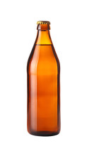 Close Up One Brown Beer Bottle Isolated On White