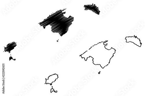 Balearic Islands (Kingdom of Spain, Autonomous community) map vector illustration, scribble sketch Mallorca, Menorca, Ibiza and Formentera map