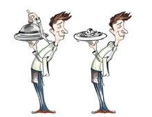 Waiters Serving Food Illustrat...
