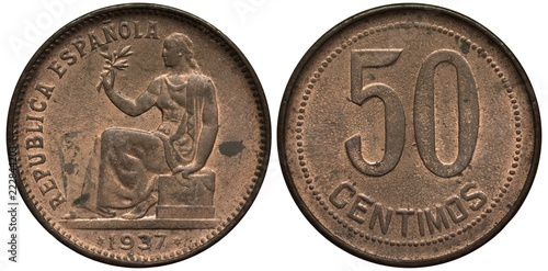 Valokuva  Spain Spanish coin 50 fifty centimos 1937, Republic of Spain, Civil War issue, s