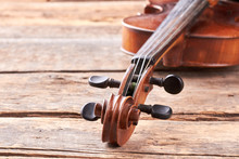 Close Up Violin On Old Wooden ...
