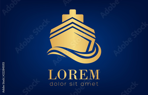 Photo Ship on the sea vector. Ship and wave logo. Sea boat.
