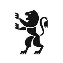 Heraldic Lion Black Icon, Coat Of Arms In Modern Flat Style, Symbol Of Strength, Courage And Generosity
