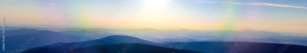 Fototapety, obrazy: Panoramic morning view from the peak of Snezka, the highest mountain of czech republic in the karkonosze national park, looking to the Svorova Mountain, showing the border between to Poland