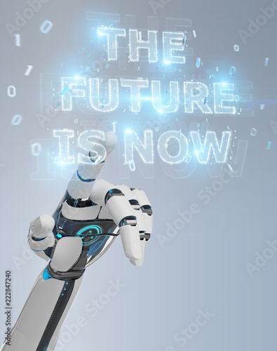 Photo  White cyborg hand using future decision text interface 3D rendering