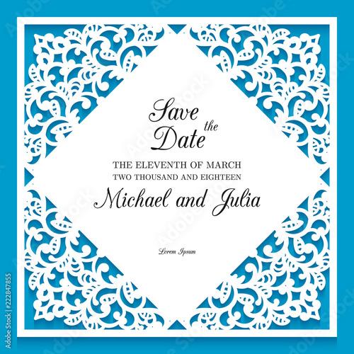 Fényképezés  Laser cut wedding invitation template