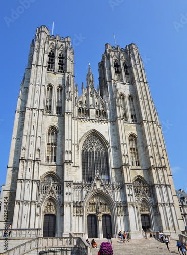 Foto op Canvas Brussel The Cathedral of St. Michael and St. Gudula on the Treurenberg Hill in Brussels, Belgium.