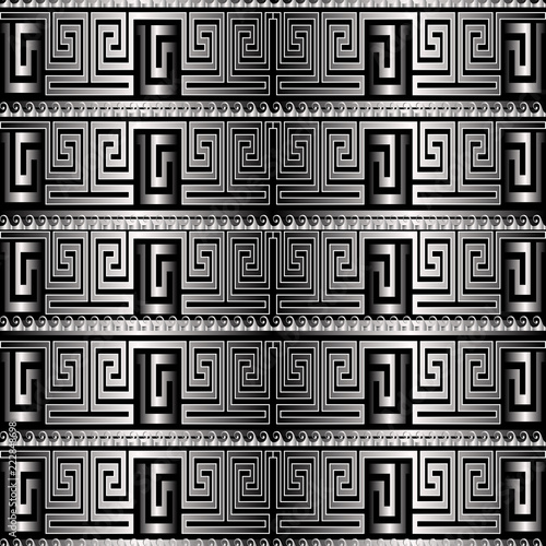 Foto  Silver 3d greek key meanders vector seamless pattern