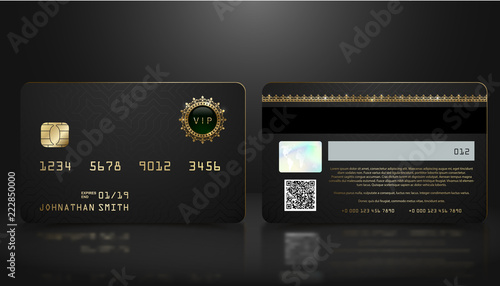 Fotografía  Vector realistic black credit card with abstract geometric background
