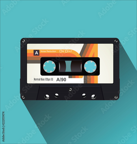 Fotografia Retro vintage cassette tape flat concept vector illustration