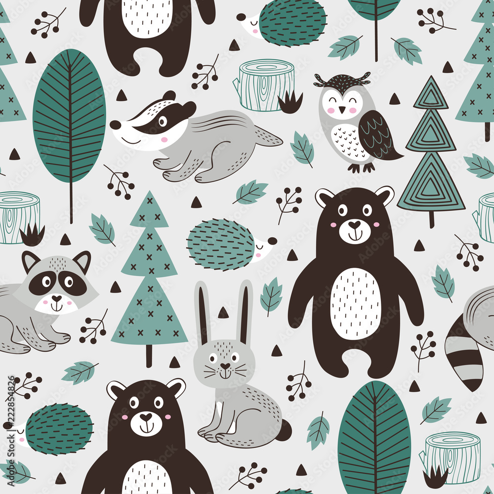 seamless pattern with forest animals on gray background Scandinavian style - vector illustration, eps