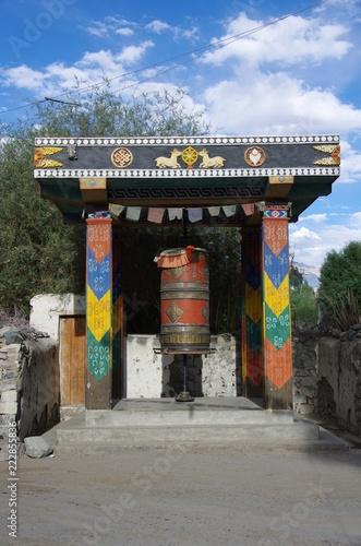 Poster Monument Prayer wheel in Diskit in Ladakh, India