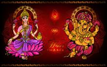 Happy Diwali Lakshmi And Ganesha