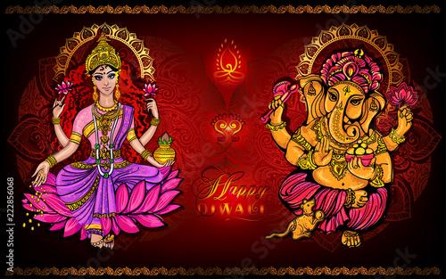 Photo Happy Diwali Lakshmi and Ganesha