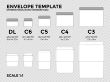 Envelope Template With International, Euro Standard Sizes C6, C5, C4, C3 For Folded A4, A5 Paper With Cut Lines