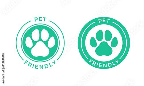 Fototapeta Pet friendly logo icon for Pets allowed hotel sign. obraz