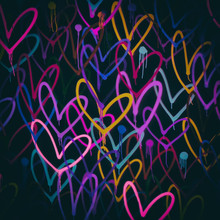 Colorful Grunge Background With Painted Hearts.