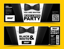 Vector Horizontal Black And White Event Invitations. Black Bow Tie Businessmen Banners. Elegant Party Ticket Card With Black Suit And White Shirt.