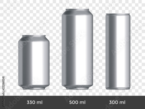 Photo  3D can mockup. Vector aluminium beer or soda can blank template