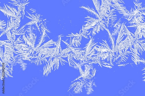 Fotografie, Obraz  Frost and Snow border background of ice crystals and snowflakes on blue backgrou