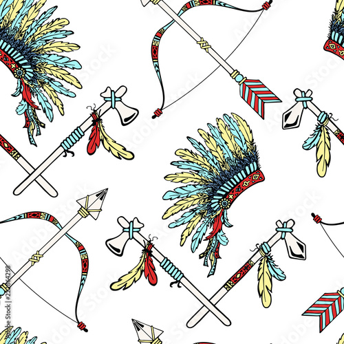 War bonnet, Tomahawk, feather birds, Indian bow, arrows