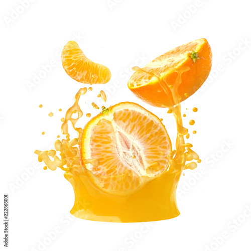 In de dag Opspattend water Juice or liquid splashing with fresh mandarines, tangerine, clementine isolated on white background. Creative minimalistic food concept for design package, advertising, ads, branding.