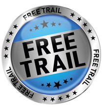 Blue Free Trail Round Glossy Medal Icon Seal Badge