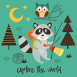 poster raccoon explores the forest at night - vector illustration, eps