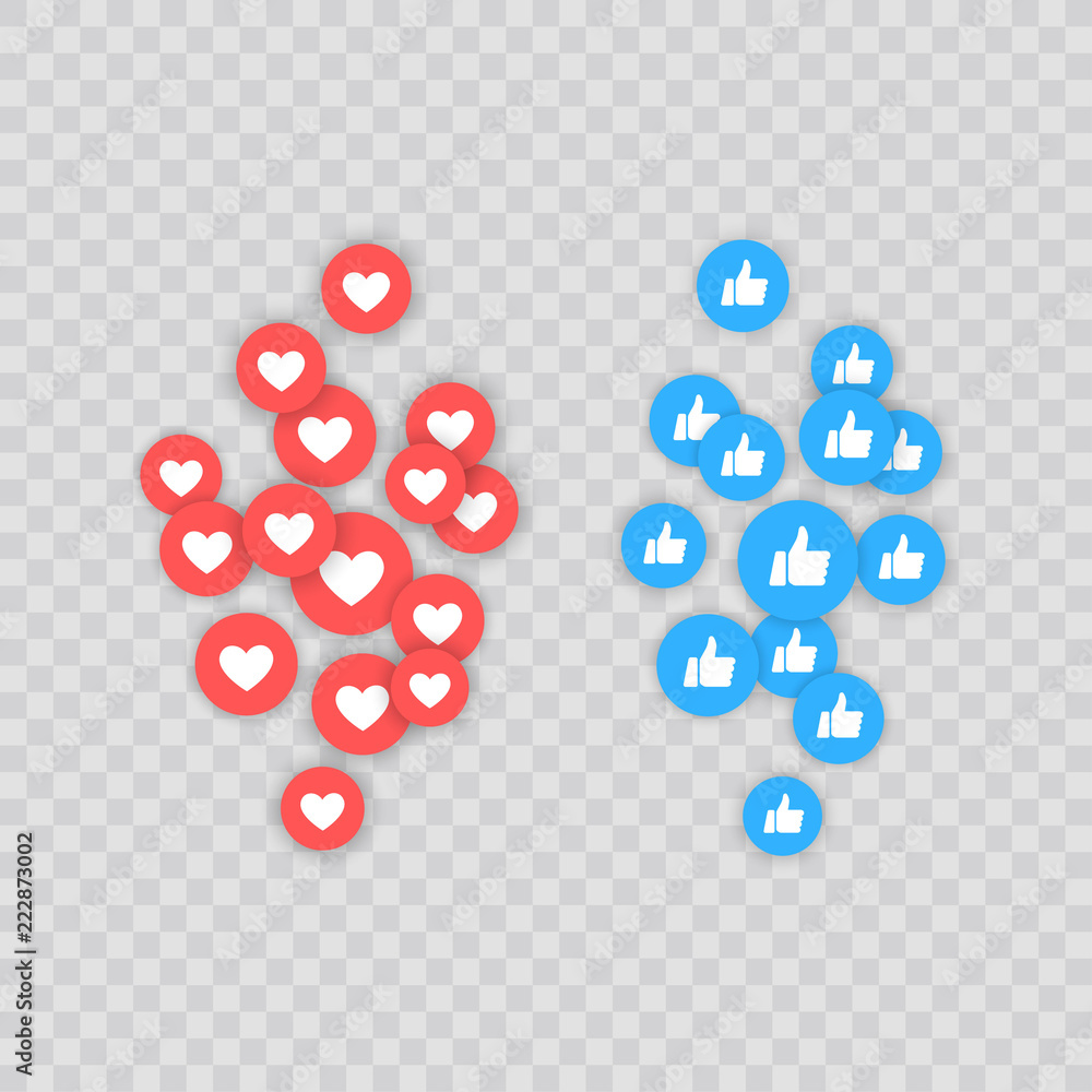 Fototapeta Like and Heart icon. Live stream video, chat, likes. Social nets like red heart web buttons isolated on white background. Vector illustaration.