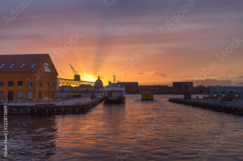 Photo Dramatic sunset over Copenhagen