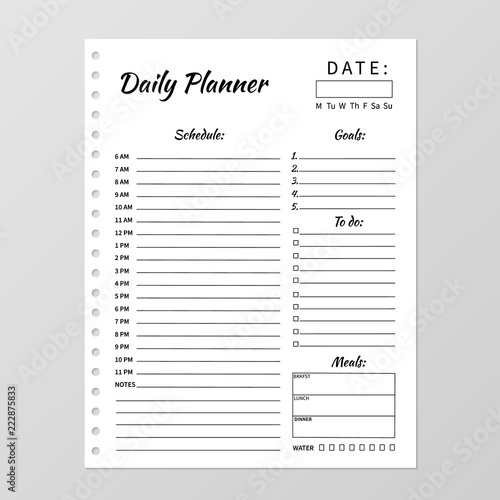 photograph regarding Daily Planner Template titled Minimalist each day planner template. Blank white laptop site