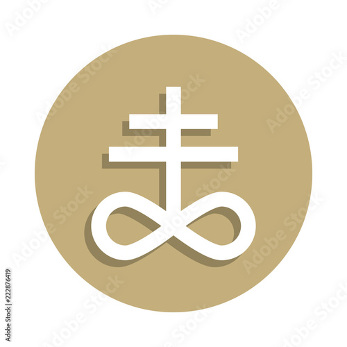 Satanism Leviathan Cross Sign Icon In Badge Style One Of Religion