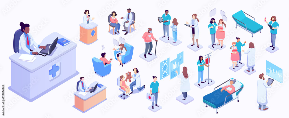 Fototapety, obrazy: Isometric illustration of medical workers and patients. Hospitals, doctors, patients, reception. healthcare and technology concept