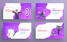 Presentation Slide Templates Or Hero Banner Images For Websites, Or Apps. Business Concept Illustrations. Modern Flat Style