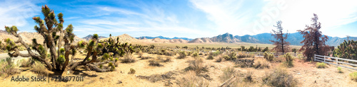 Recess Fitting Route 66 Panoramic landscape with road in Death Valley. USA.