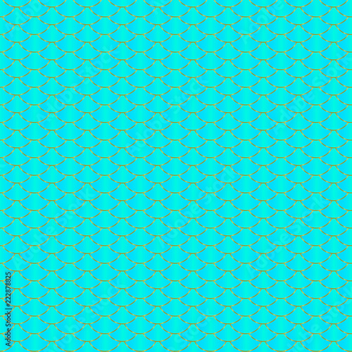 mermaid seamless pattern blue mint green and gold fish scale