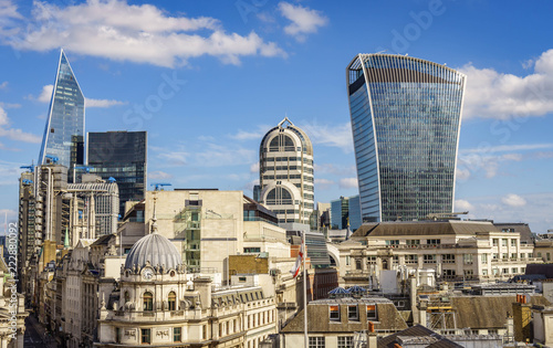Aerial view of skyscrapers of the world famous bank district of central London Canvas Print