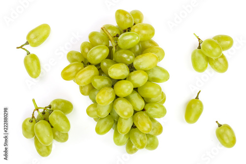 Fotografia, Obraz  green grapes isolated on the white background