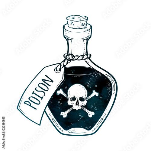 Obraz na plátne Poison in bottle line art and dot work hand drawn vector illustration